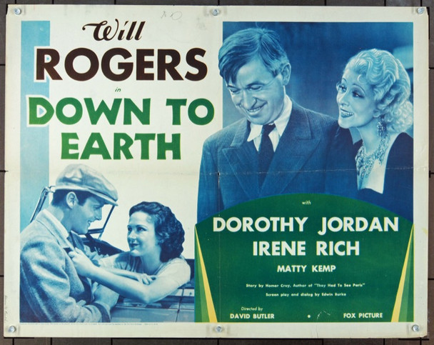 DOWN TO EARTH (1932) 850 Original Fox Film Corporation Half Sheet Poster (22x28).  Folded.  Fine Plus.