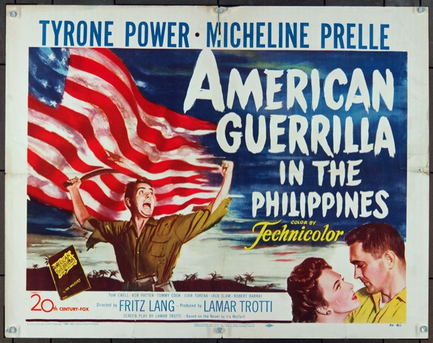 AMERICAN GUERRILLA IN THE PHILIPPINES (1950) 854 Original 20th Century-Fox Half Sheet Poster (22x28).  Folded.  Good Condition.