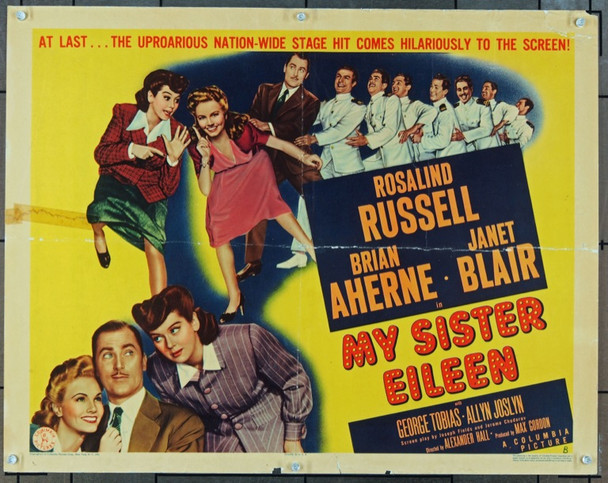 MY SISTER EILEEN (1942) 853 Original Columbia Pictures B Style Half Sheet Poster (22x28).  Folded.  Good Condition.