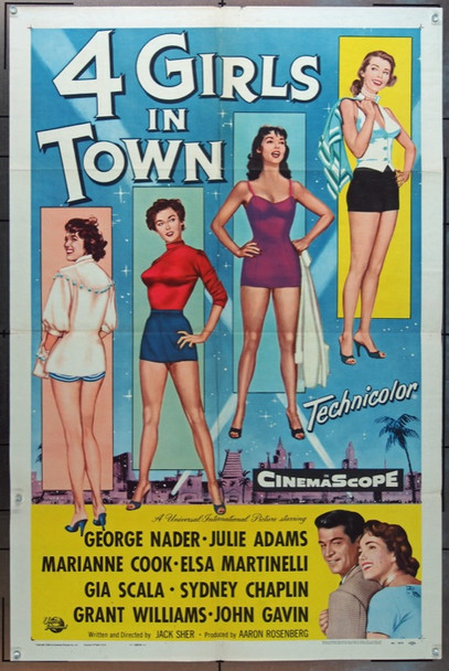 FOUR GIRLS IN TOWN (1956) 8141 Original Universal Pictures One Sheet Poster (27x41) .  Folded.  Fine Plus.