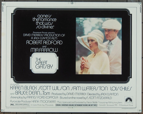 GREAT GATSBY, THE (1974) 881 Original Paramount Pictures Half Sheet Poster (22x28).  Unfolded.  Very Fine.