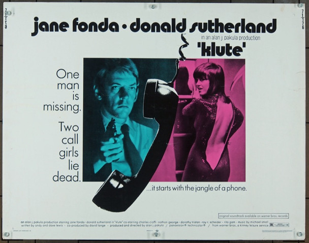 KLUTE (1971) 889 Original Warner Brothers Half Sheet Poster (22x28).  Unfolded.  Very Good.