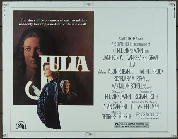 JULIA (1977) 895 Original 20th Century-Fox Half Sheet Poster (22x28).  Unfolded.  Very Fine.