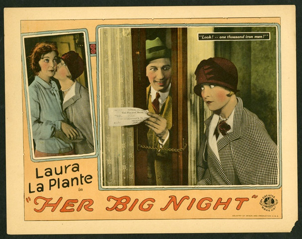 HER BIG NIGHT (1926) 25195 Universal Pictures Silent Scene Lobby Card (11x14).  Fine Condition.
