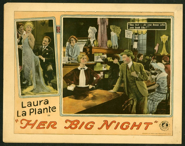 HER BIG NIGHT (1926) 25196 Universal Pictures Silent Lobby Card (11x14).  Rare.  Very Fine Condition.