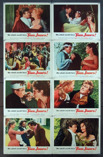 TOM JONES (1963) 25209 United Artists Original Complete Set of 8 Lobby Card (11x14).  Fine Plus To Very Fine Condition.