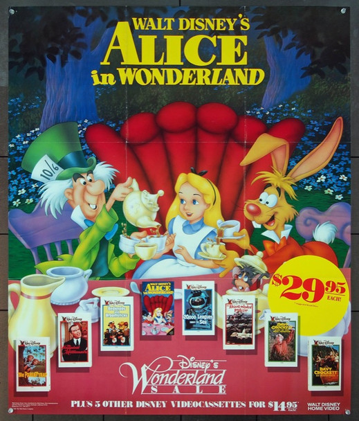 ALICE IN WONDERLAND (1951) 4751 Walt Disney Home Video Original Poster    31x37  Folded.  Very Fine