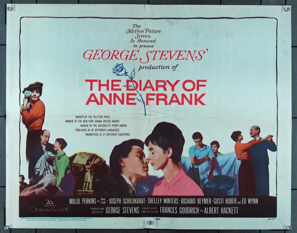 DIARY OF ANNE FRANK, THE (1959) 4729 20th Century Fox Half Sheet Poster    22x28   Folded   Fine Plus Condition
