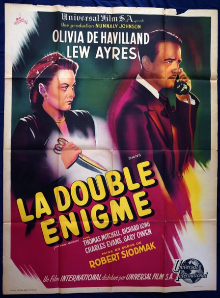 DARK MIRROR, THE (1946) 4756 Original French Poster (47x63).  Rene Lefebvre Artwork.  Folded.  Very Good To Fine Condition.