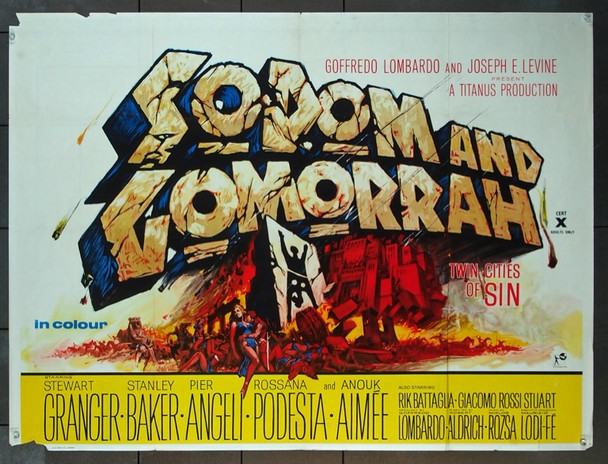 SODOM AND GOMORRAH (1962) 5644 Original British Quad Poster (30x40).  Folded.  Very Good Plus to Fine Condition