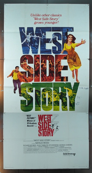 WEST SIDE STORY (1961) 5633 Original United Artists 1968 Re-Release Three Sheet Poster (41x81).  Folded.  Good Condition.