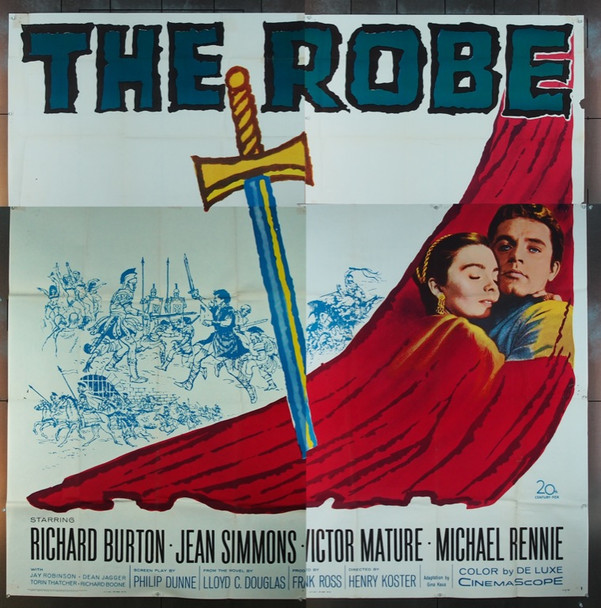 ROBE, THE (1953) 5636 20th Century Fox Six Sheet Poster   81x81  Re-release of 1963  Folded.  Very Good Condition.