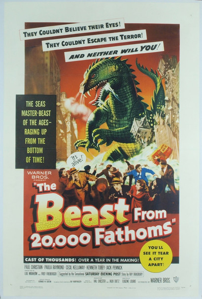 BEAST FROM 20,000 FATHOMS, THE (1953) 18957 Original Warner Brothers One Sheet Poster (27x41). Linen-Backed. Very Fine Condition.
