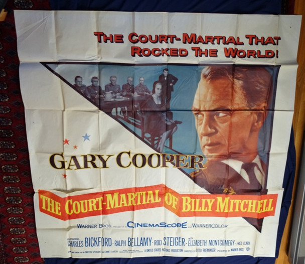 COURT-MARTIAL OF BILLY MITCHELL, THE (1956) 4915 Original Warner Brothers Six Sheet Poster (81x81).  Folded.  Assembled.  Fine Plus.