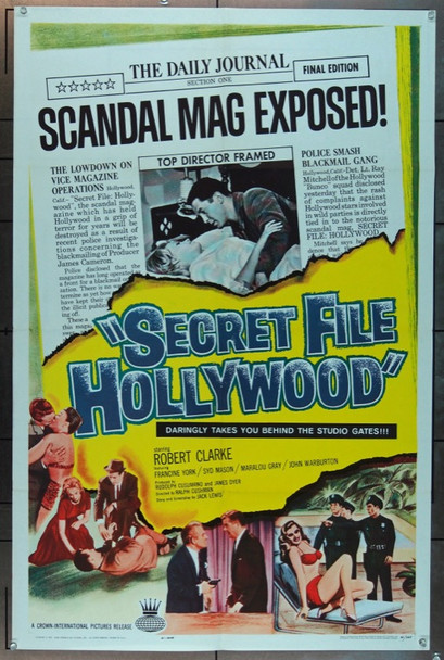 SECRET FILE: HOLLYWOOD (1961) 25211 Crown International One Sheet Poster (27x41).  Folded.  Very Fine.