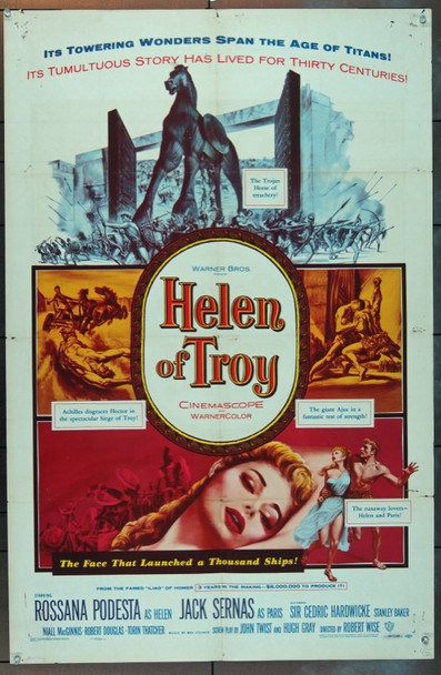 HELEN OF TROY (1956) 5642 Warner Brothers Original One Sheet Poster  27x41  Folded   Very Good Condition.
