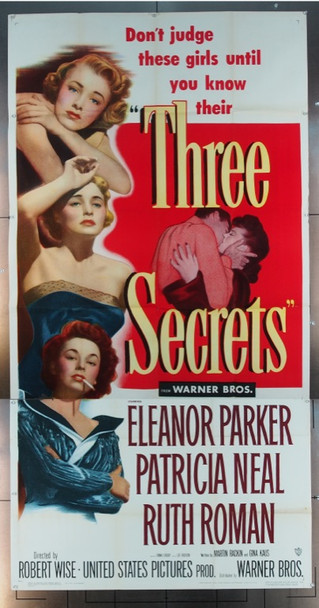 THREE SECRETS (1950) 10186 Warner Brothers Original Three Sheet Poster   41 x  81   Folded.  Fine Condition