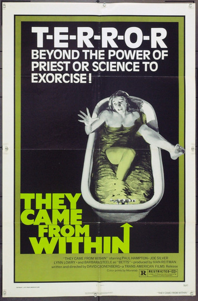 THEY CAME FROM WITHIN (1976) 9597 Original Trans American Films One Sheet Poster (27x41).  Folded.  Very Fine Condition.