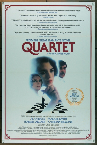 QUARTET (1981) 5048 Original New World Pictures Review One Sheet Poster (27x41).  Folded.  Very Good Condition.