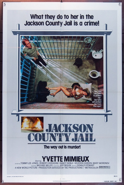 JACKSON COUNTY JAIL (1976) 5070 Original New World Pictures One Sheet Poster (27x41).  Folded.  Fine Plus Condition.