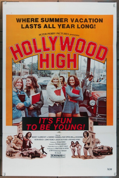 HOLLYWOOD HIGH (1976) 5074 Original PPP Productions One Sheet Poster (27x41).  Folded.  Fine Plus.