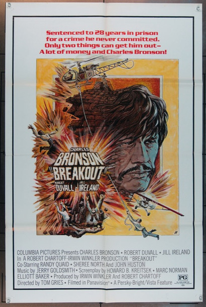 BREAKOUT (1975) 11539 Original Columbia Pictures Style B One Sheet Poster (27x41).  Folded.  Fine Plus Condition.