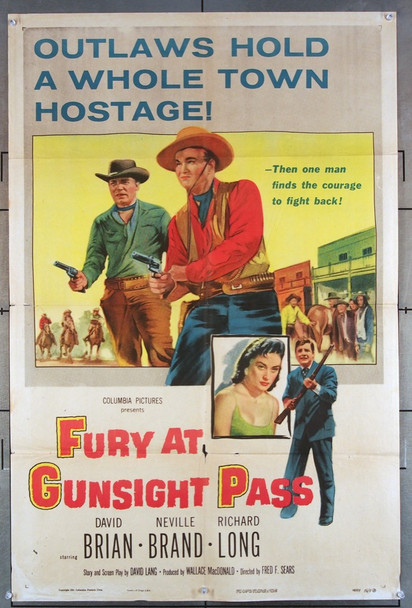 FURY AT GUNSIGHT PASS (1956) 15481 Columbia Pictures One Sheet Poster   27x41  Folded.  Good Condition