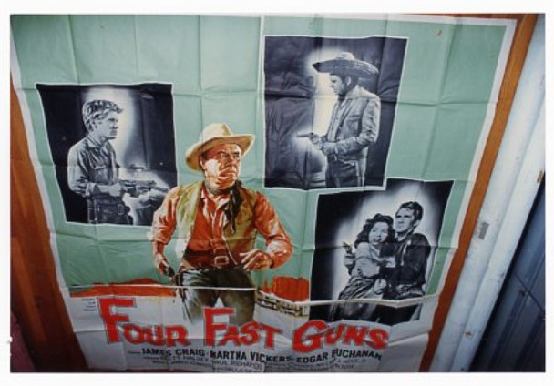 FOUR FAST GUNS (1960) 13509 Universal Six Sheet Poster   81x81  Folded.  Fine Condition