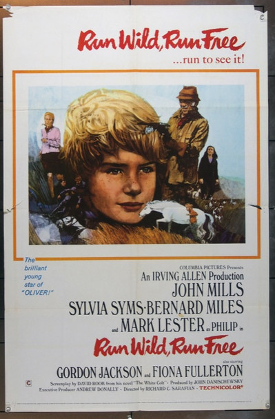 RUN WILD, RUN FREE (1969) 5042 Original Columbia Pictures One Sheet Poster (27x41).  Folded.  Good Condition Only.