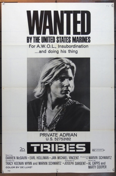 TRIBES (1971) 5023 20th Century Fox Original One Sheet Poster   27x41  Folded  Very Good Condition