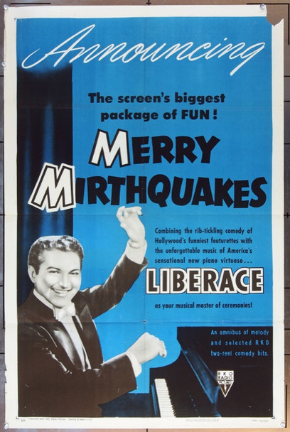 MERRY MIRTHQUAKES (1953) 5056 Original RKO One Sheet Poster (27x41).  Folded.  Very Good Condition.