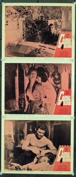 CASTLE OF BLOOD (1964) 2473 Original Woolner Brothers Pictures Group of Three Scene Lobby Cards (11x14).  Fine Plus.