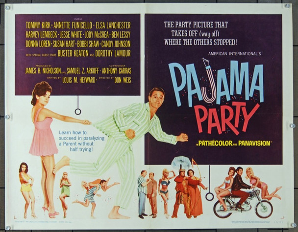 PAJAMA PARTY (1964) 7647 Original American International Pictures Half Sheet Poster (22x28).  Originally Folded.  Fine Plus Condition.