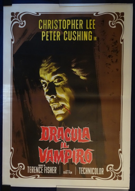 HORROR OF DRACULA (1958) 23551 Original Italian Poster (55x79).  Linen-Backed.  Fine Plus To Very Fine.