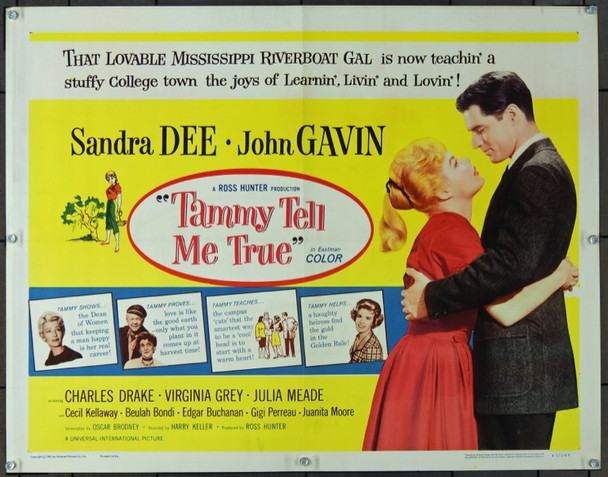TAMMY TELL ME TRUE (1961) 7650 Original Universal Pictures Half Sheet Poster (22x28).  Folded.  Very Fine Condition.