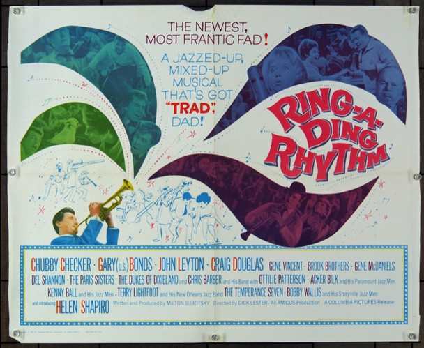 RING-A-DING RHYTHM (1962) 7651 Columbia Pictures Half Sheet Poster   22x28  Folded.  Very Good Condition