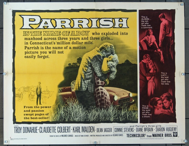 PARRISH (1961) 7649 Original Warner Brothers Half Sheet Poster (22x28) .  Folded.  Fine Condition.
