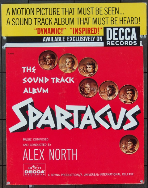 SPARTACUS (1960) 22547 DECCA RECORDS COUNTER STANDEE  22X27  Very Fine Condition.