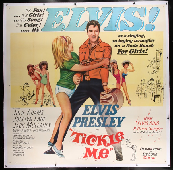 TICKLE ME (1965) 25110 Original Allied Artists Six Sheet Poster (81x81).  Linen-Backed.  Very Fine.