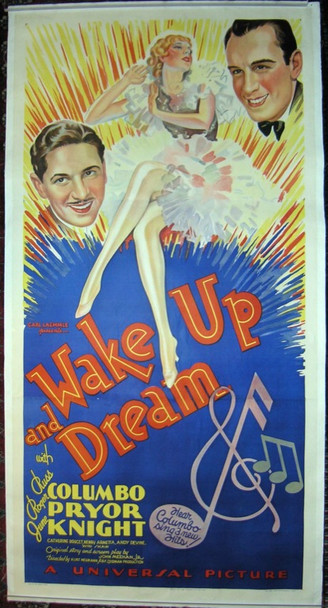 WAKE UP AND DREAM (1934) 19497 Universal Pictures Original Three Sheet Poster  41x81  Linen backed.  Very Fine Condition