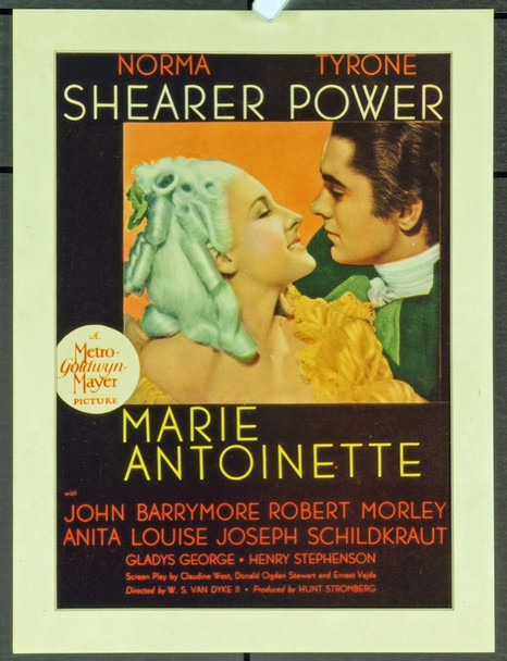 MARIE ANTOINETTE (1938) 19934 MGM Midget Window Card (8x14).  Trimmed to 8 x 11 inches.  Very Fine Condition.