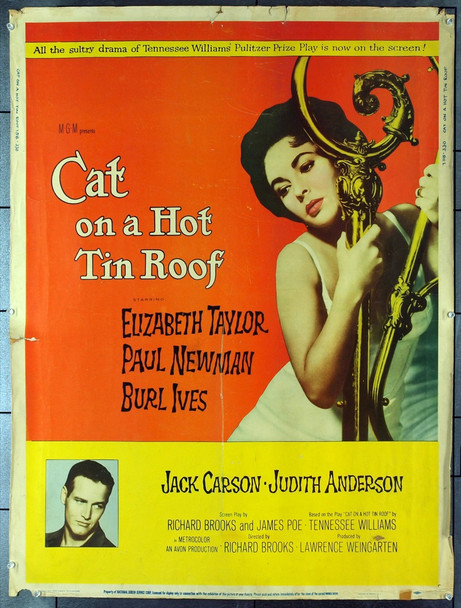 CAT ON A HOT TIN ROOF (1958) 20442 Original MGM 30x40 Poster.   Rolled.   Very Good Condition.