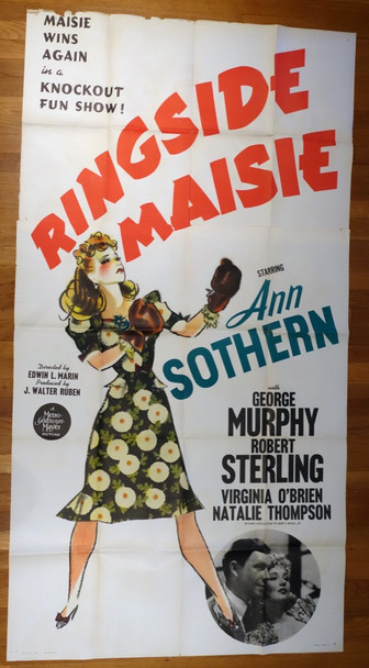 RINGSIDE MAISIE (1941) 9718 Original MGM Three Sheet Poster (41x81).  Folded.  Fine Plus Condtion.