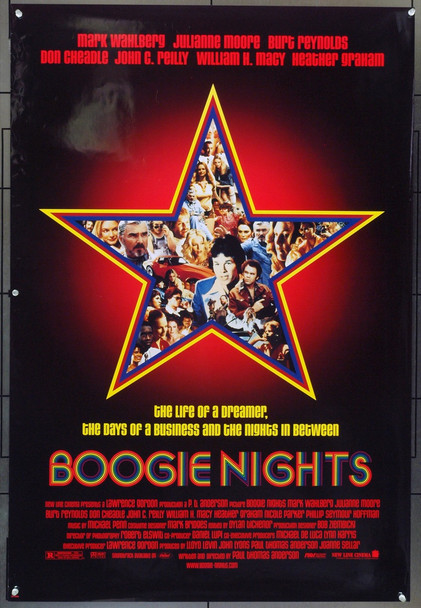 BOOGIE NIGHTS (1997) 19631 New Line Cinema One Sheet Poster ( 27x41).  Single Sided.   Rolled.   Fine Plus