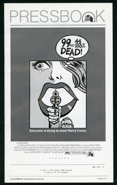 99 AND 44/100% DEAD (1974) 25343 Original 20th Century-Fox Pressbook (6x14).  10 pages.  Very Fine Condition.