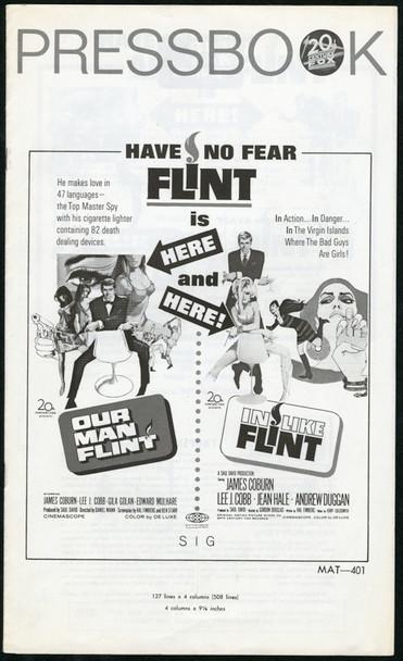 IN LIKE FLINT (1967) 25340 20th Century Fox Double Feature Pressbook   9x14  Fine Plus