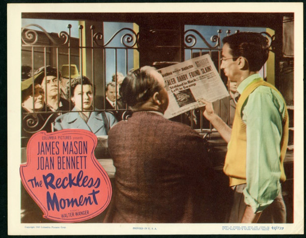 RECKLESS MOMENT, THE (1949) 25364 Original Columbia Pictures Scene Lobby Card (11x14).  Very Fine Condition.