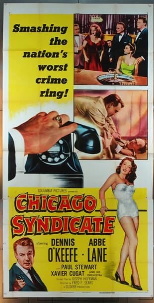 CHICAGO SYNDICATE (1955) 4826 Columbia Pictures Original Three Sheet Poster   Folded  Fine Condition  Theater-used
