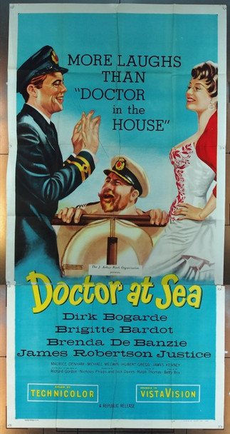 DOCTOR AT SEA (1955) 4822 Original Republic Pictures Three Sheet Poster (41x81).  Folded.  Good Condition.