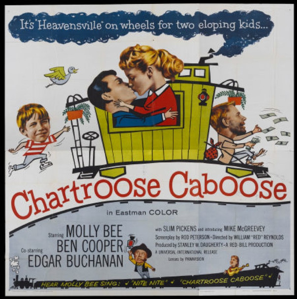 CHARTROOSE CABOOSE (1960) 4828 Universal Pictures Original Six Sheet Poster   81x81  Folded  Never Used  Fine Plus Condition